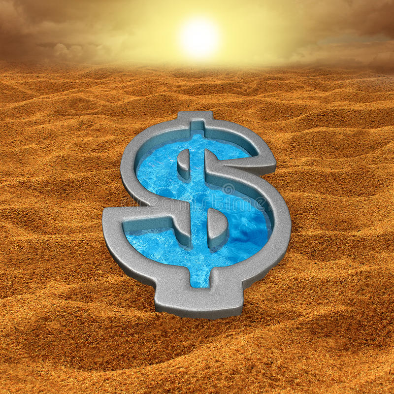 Financial Relief. And debt help concept as a dollar sign shaped swimming pool with fresh cool water in a hot dry sand desert as a money metaphor for economic royalty free illustration