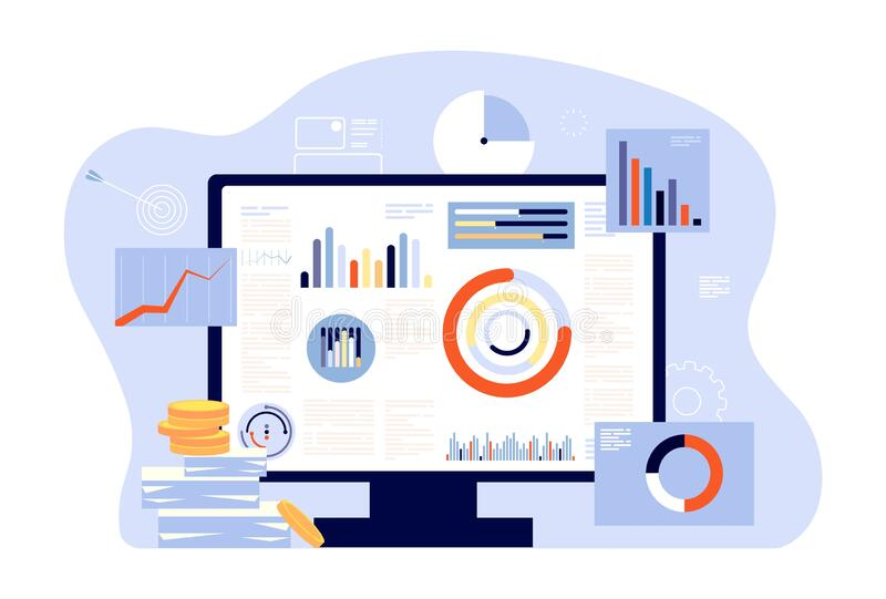 Financial report and accounting. Audit, investment success or tax reports. Computer screen, charts and graphs. Account. Business programm vector illustration vector illustration