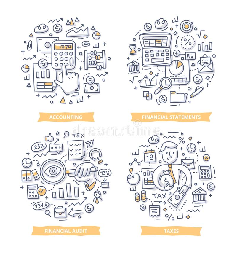Financial Report & Accounting Doodle Illustrations. Doodle illustrations of financial and cashflow statements, sales report, accounting and audit. Finance and royalty free illustration