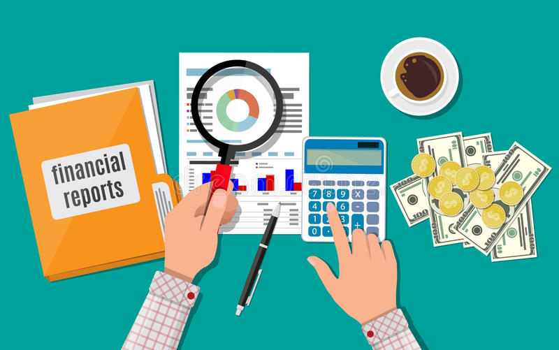 Financial report concept. Business background. Hand with magnifying glass and calculator, analysis of financial report. Financial audit concept. Calculation royalty free illustration