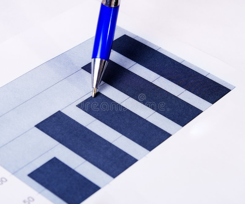 Financial Report Concept - Diagram Chart And Pen Royalty Free Stock Image