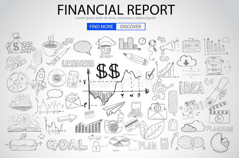 Financial Report concept with Doodle design style. Online purchases, banking, money spending. Modern style illustration for web banners, brochure and flyers vector illustration