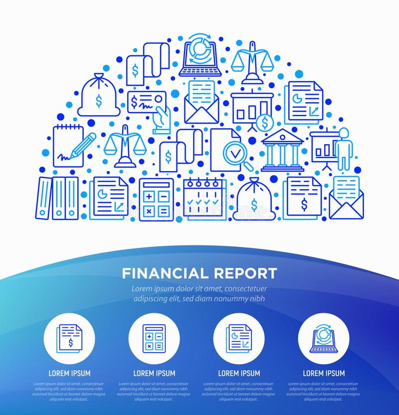 Financial report concept in half circle with thin line icons: bank, financial analytics, calculate, signature, email, presentation royalty free illustration