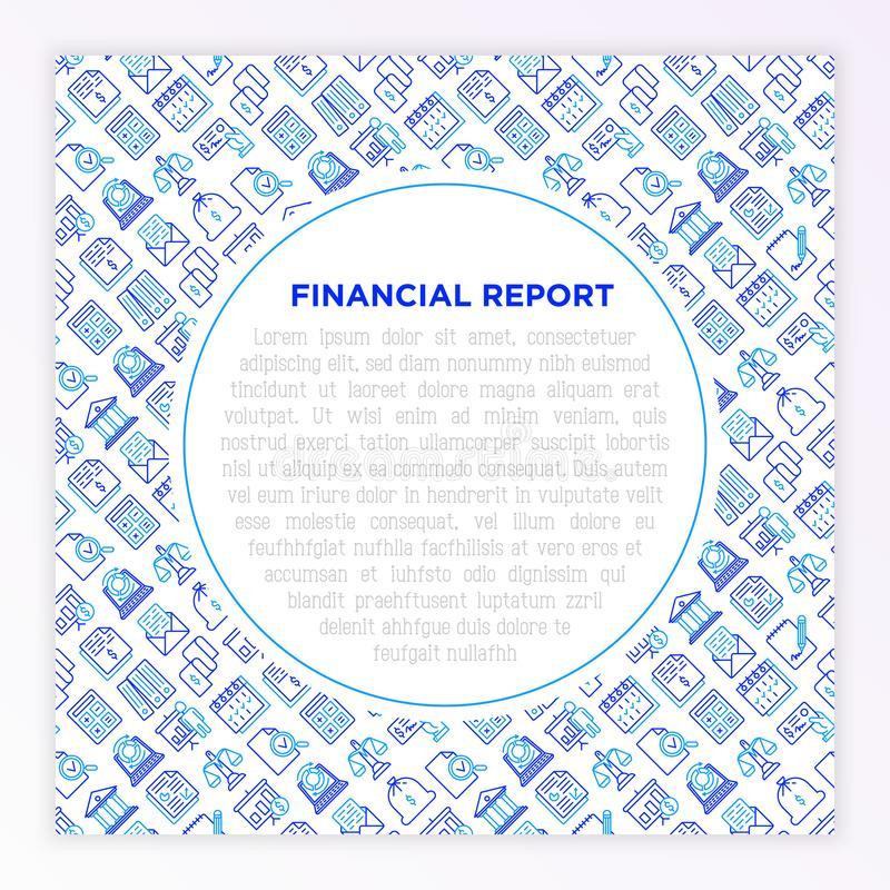 Financial report concept with thin line icons: bank, financial analytics, calculate, signature, email, presentation, bank check, royalty free illustration
