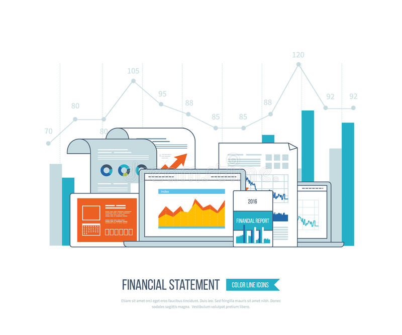 Financial report, consulting, teamwork, project management and development. Investment business. Concepts for business analysis, financial statement, consulting vector illustration