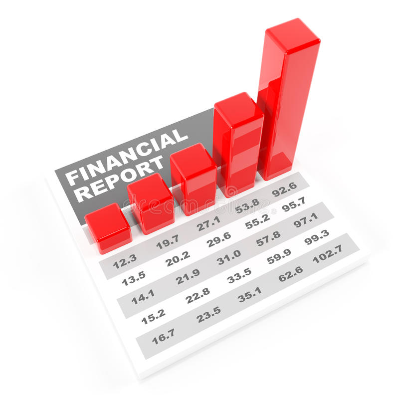 Financial report, 3d render. Financial report with bar chart, 3d render royalty free illustration