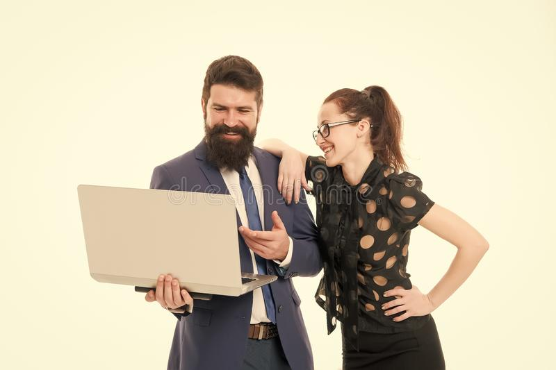 Financial report. Financial indicators. Couple working using laptop. Business lady check what is done. Lady boss. Satisfied with business indicators. Manager royalty free stock photos