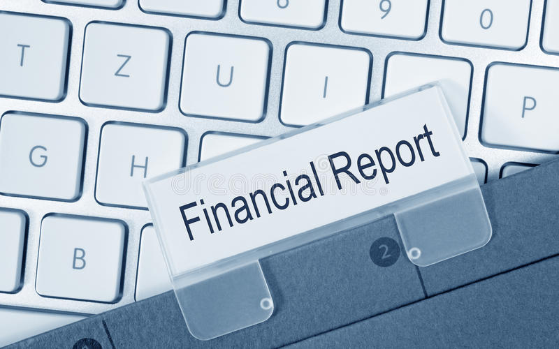 Financial Report - folder with text on computer keyboard stock images
