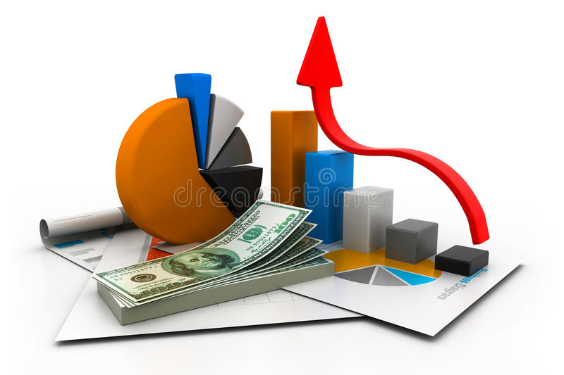 Financial report and graph. 3d illustration of financial report and graph royalty free illustration
