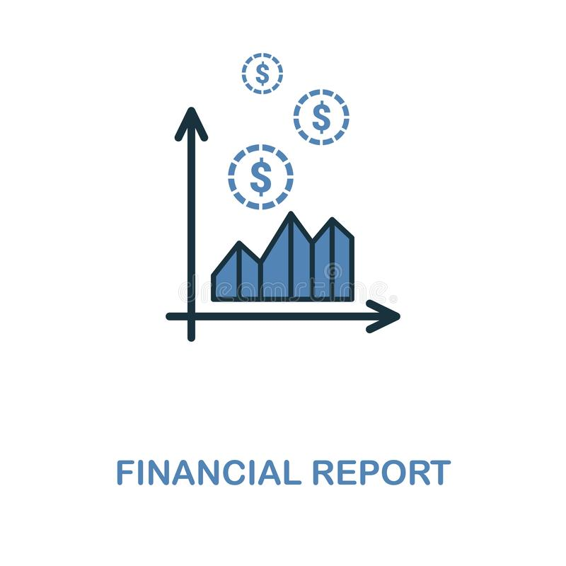 Financial Report icon in two colors design. Pixel perfect symbols from personal finance icon collection. UI and UX. Illustration o. Financial Report creative royalty free illustration