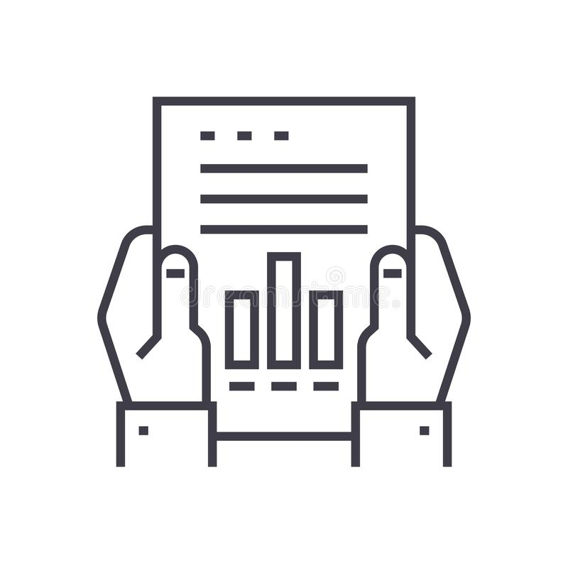 Financial report linear icon, sign, symbol, vector on isolated background. Financial report line icon, sign, symbol, vector on isolated background royalty free illustration