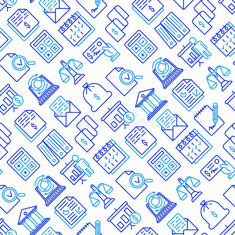 Financial report seamless pattern with line icons. Financial report seamless pattern with thin line icons set: bank, financial analytics, calculate, signature vector illustration