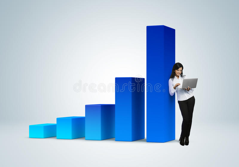 Financial report & statistics. Business success concept. Business woman with notebook stands by the bar graph vector illustration