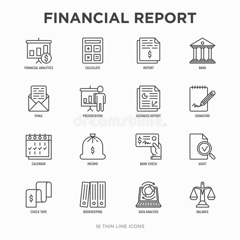 Financial report thin line icons set: bank, financial analytics, calculate, signature, email, presentation, bank check, audit, stock illustration