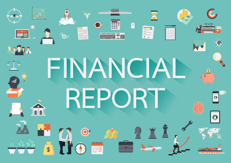 Financial report. The word FINANCIAL REPORT with long shadow surrounded by concerning flat icons vector illustration