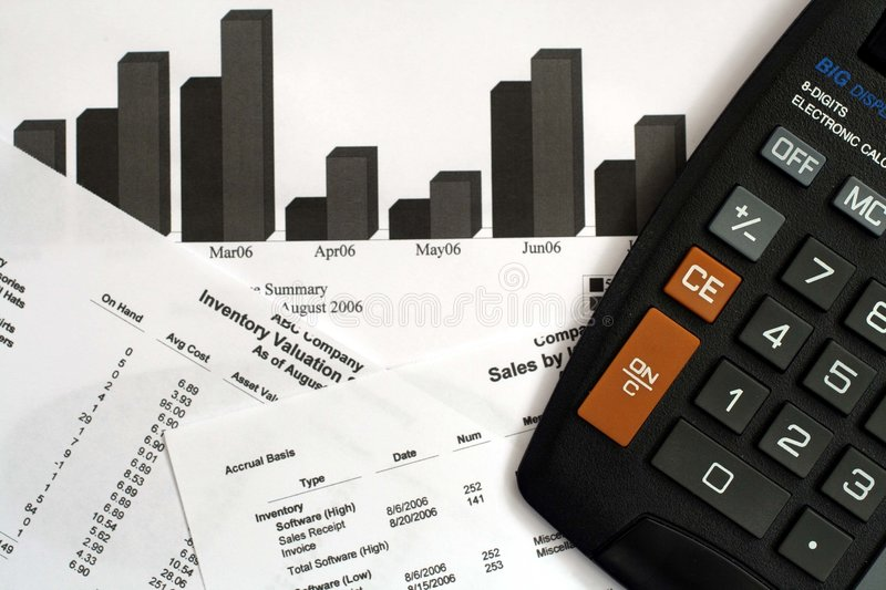 Financial Reports & Calculator stock images