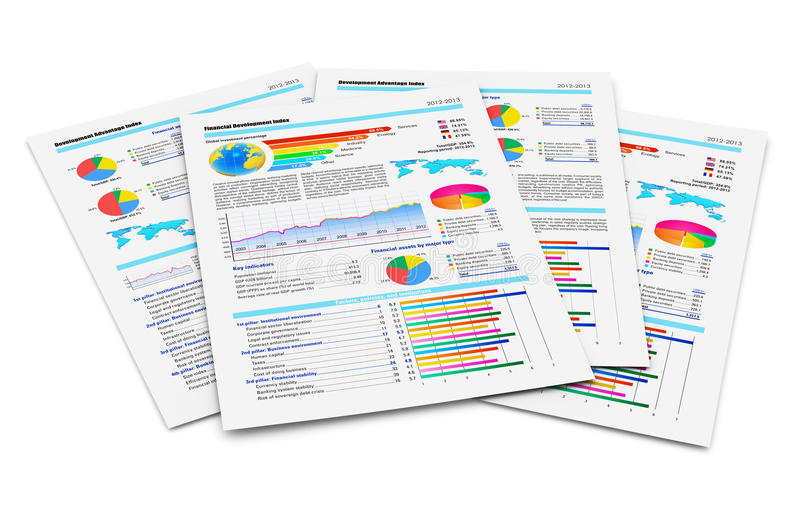 Financial reports. Creative abstract business paperwork and office work corporate concept: stack of paper documents with financial reports with color bar graphs