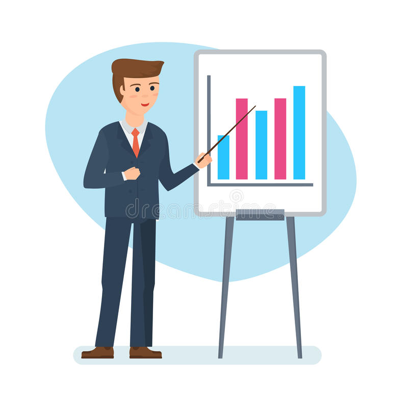 download financial representative tells story and shows audience companys financial position stock vector