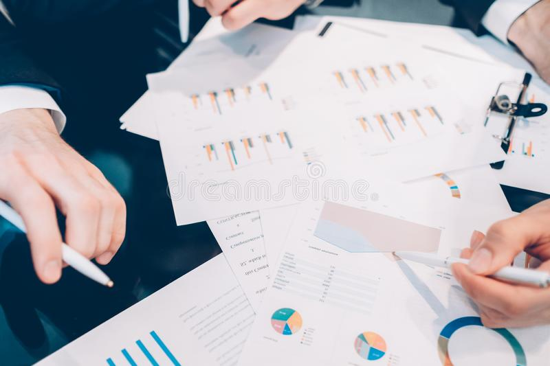 Financial research business partners meeting stock images
