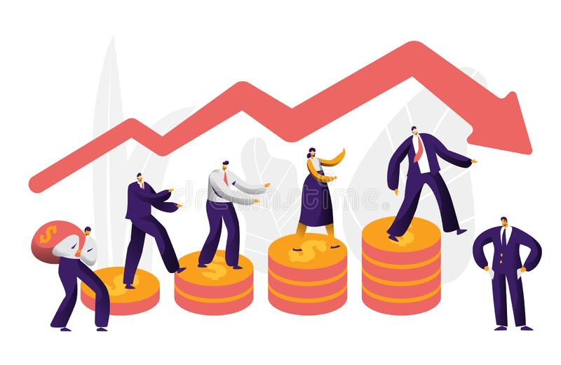 Financial Risk Business Character Arrow Concept. Businessman Walk on Coin Investing Failure Insurance. People Work stock illustration