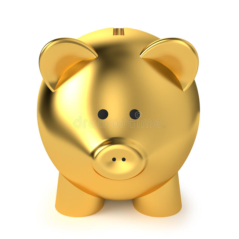 Golden Piggy Bank. Financial, savings and business concept with a golden piggy bank or money box on white background