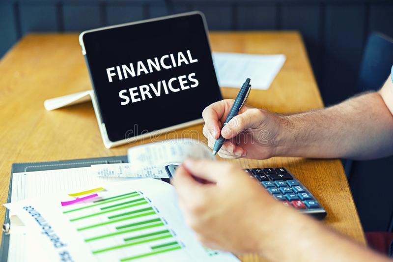 Financial services with businessman inspector calculating bills or checking balance, Business adviser analyzing financial results royalty free stock photos