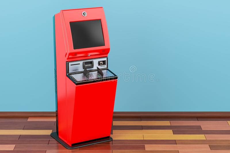 Financial services kiosk, digital touchscreen terminal in room vector illustration