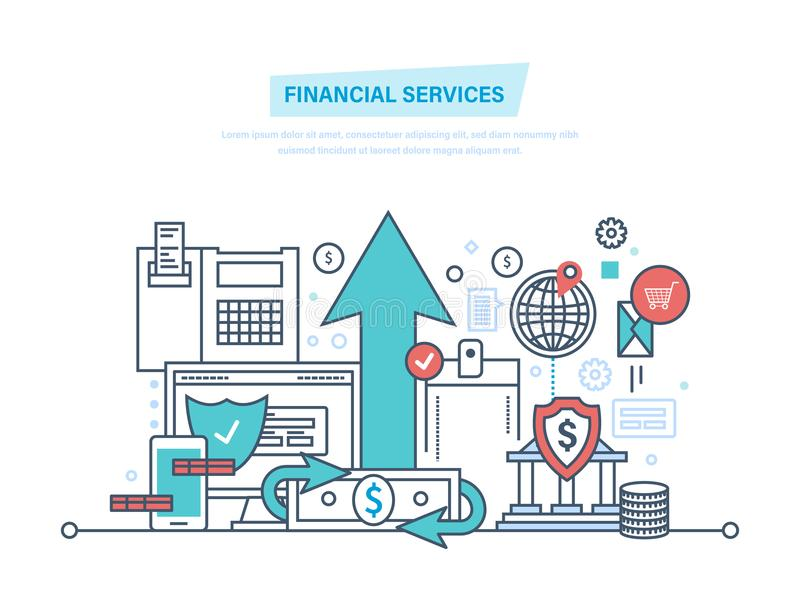 Financial services. Online banking, protection, payment security, analysis deposits, investment. royalty free illustration