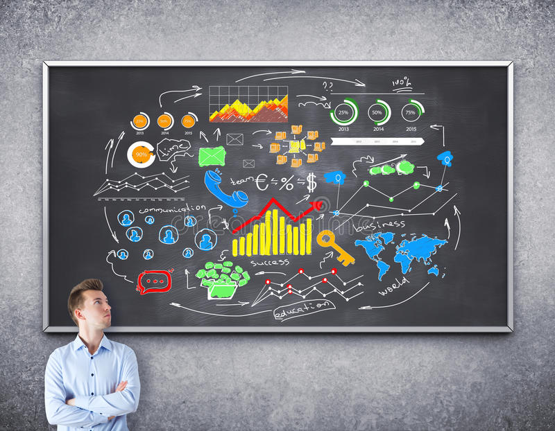 Financial sketch on blackboard. Young businessman thinking and drawing financial sketch on blackboard royalty free stock image