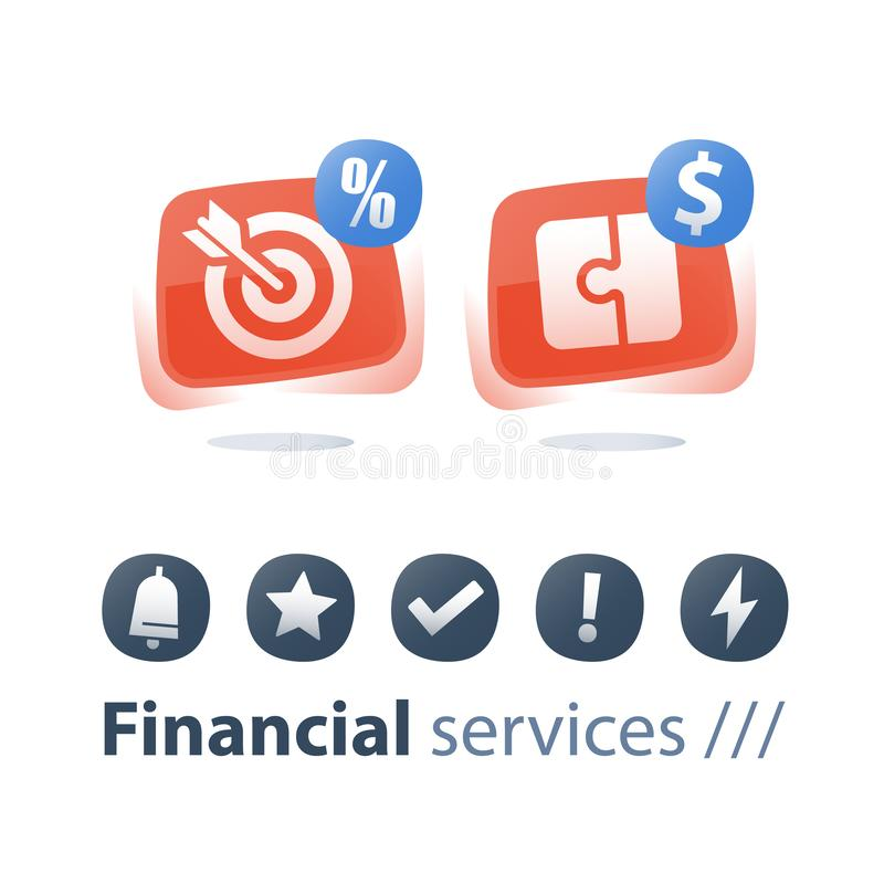 Payment installment, financial solution, investment strategy, puzzle piece, target arrow, cash loan vector illustration