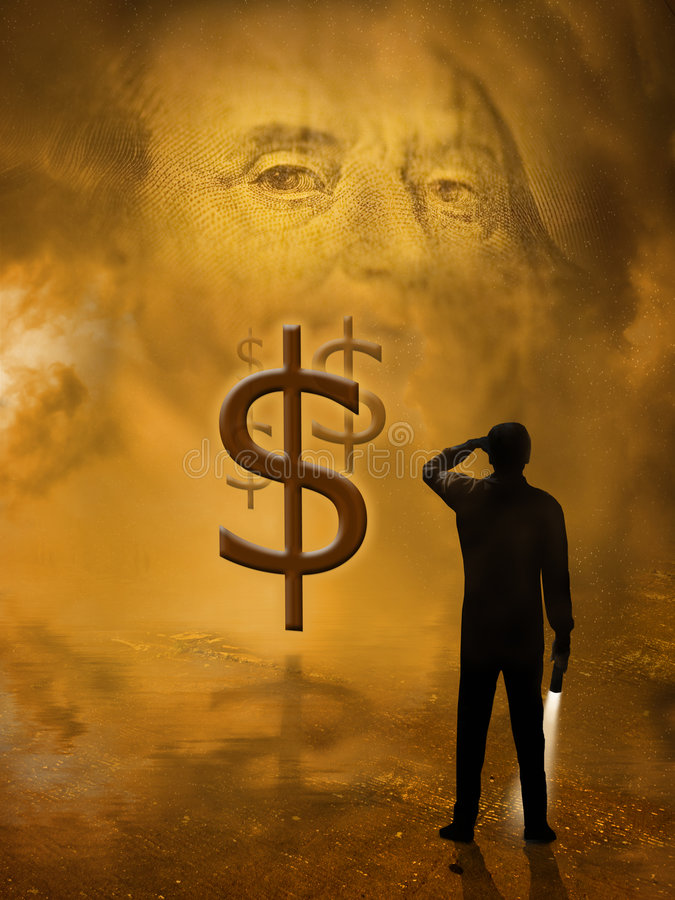 Financial solutions. A silhouette of a man holding a flashlight with light on, looks into the future for financial solutions