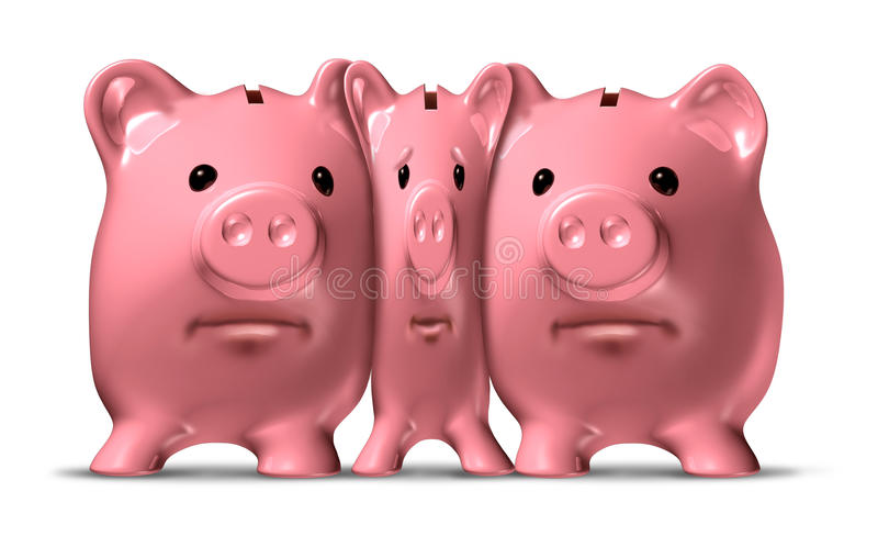 Financial Squeeze. And credit crunch represented by a squished and narrow piggy bank under pressure from bigger pigs as a ceramic icon of savings symbol that is vector illustration