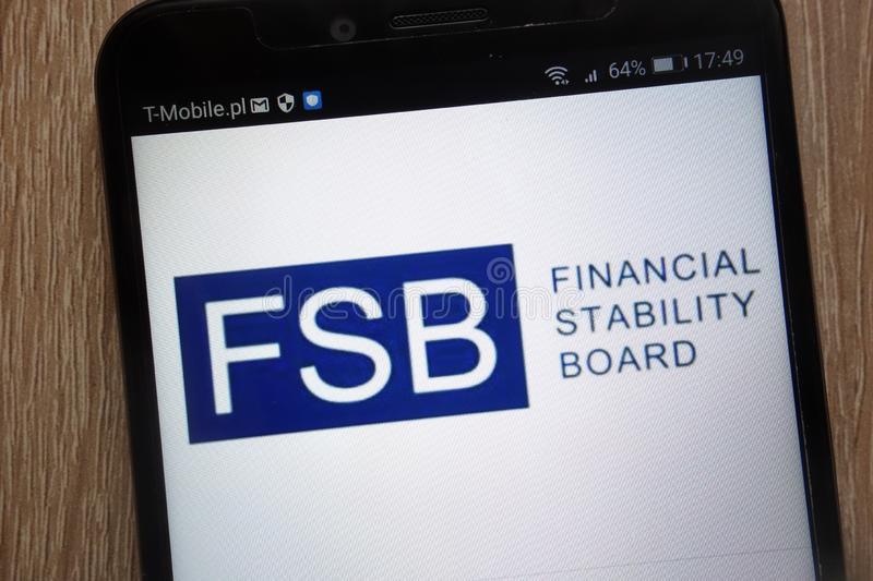 Financial Stability Board logo displayed on a modern smartphone royalty free stock image