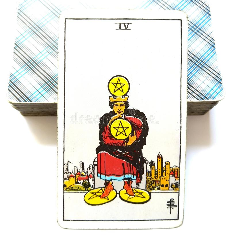 4 Four of Pentacles Tarot Card Financial Stability/Security Savings Investments Business Wealth Materialistic Miser Penny Pinching. Financial Stability/Security vector illustration