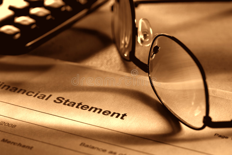 Download Financial Statement With Glasses And Calculator Stock Image - Image: 5002845