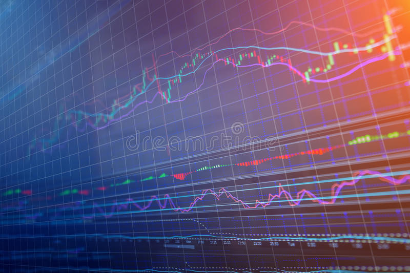 Financial stock chart data on a monitor. Finance business data analysis concept stock image