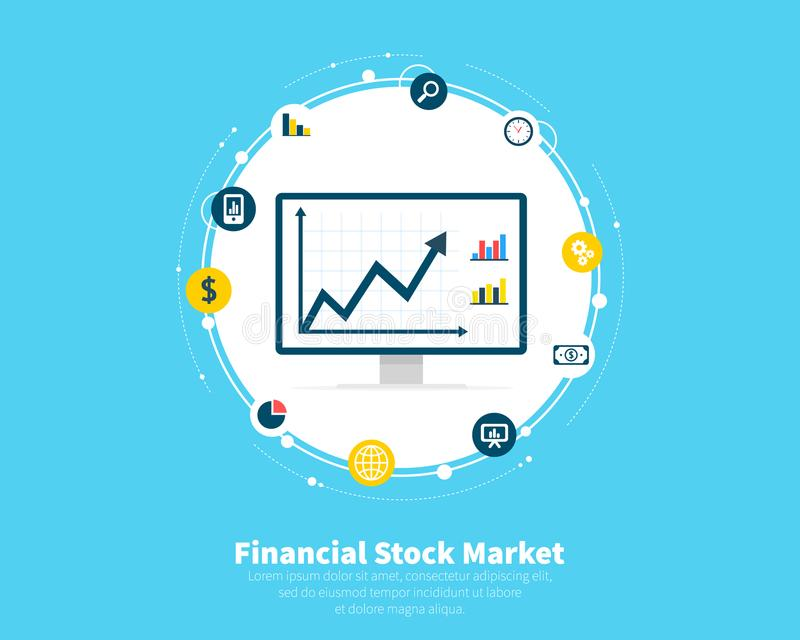 Financial stock market concept. Trading, e-commerce, capital markets, investments, finance. Growth of economic stock illustration