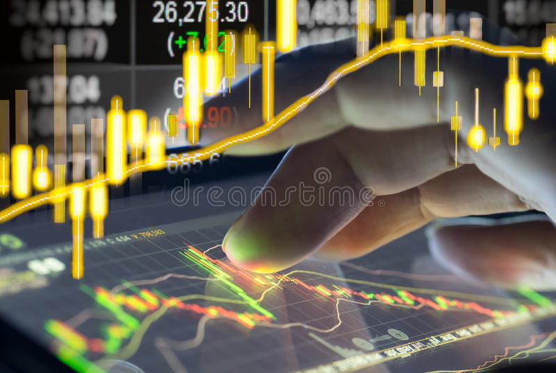 Financial stock market data. Candle stick graph chart of stock m royalty free stock image