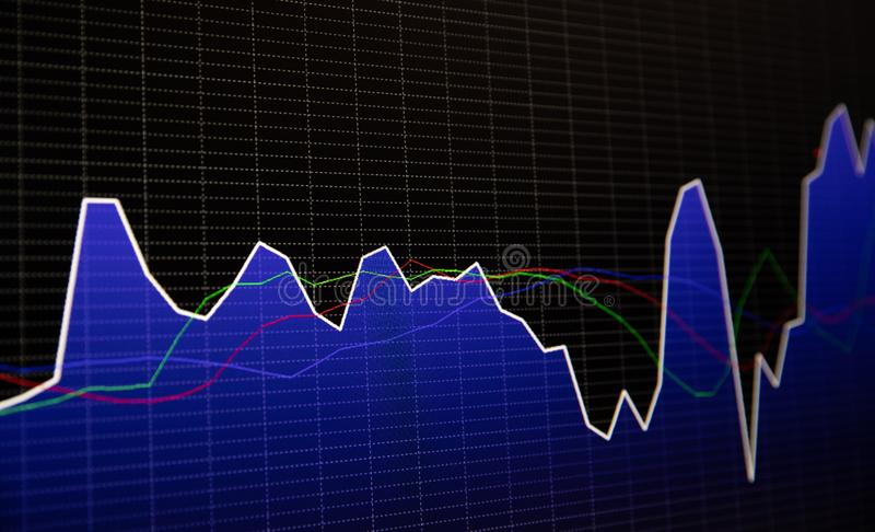 Financial stock market graph and bar chart price display on dark background.  stock photography