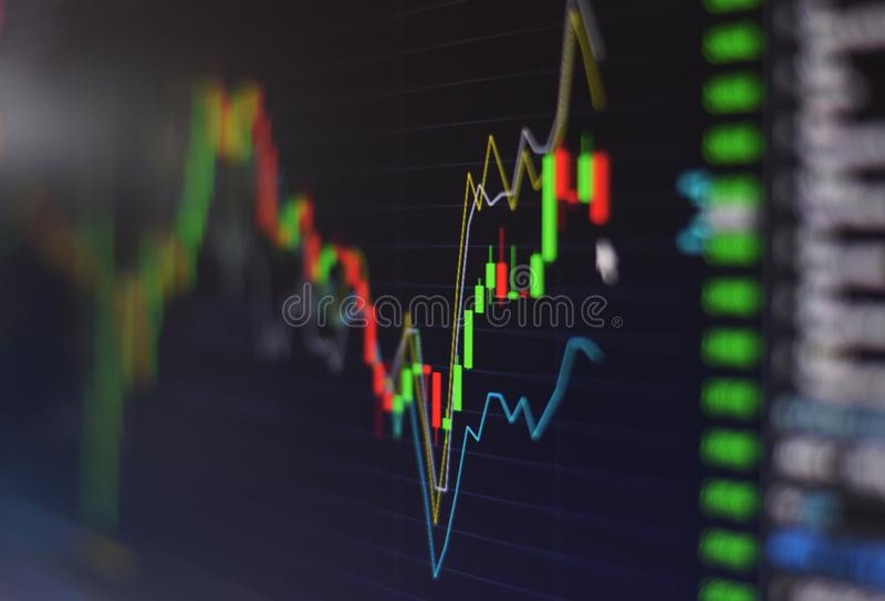 Financial stock market graph chart investment trading stock exchange trading market screen at night time Close up for. Financial stock market graph chart stock image