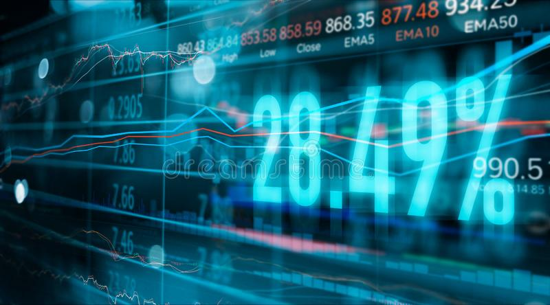 Financial stock market numbers and forex trading graph, business and data royalty free stock photo