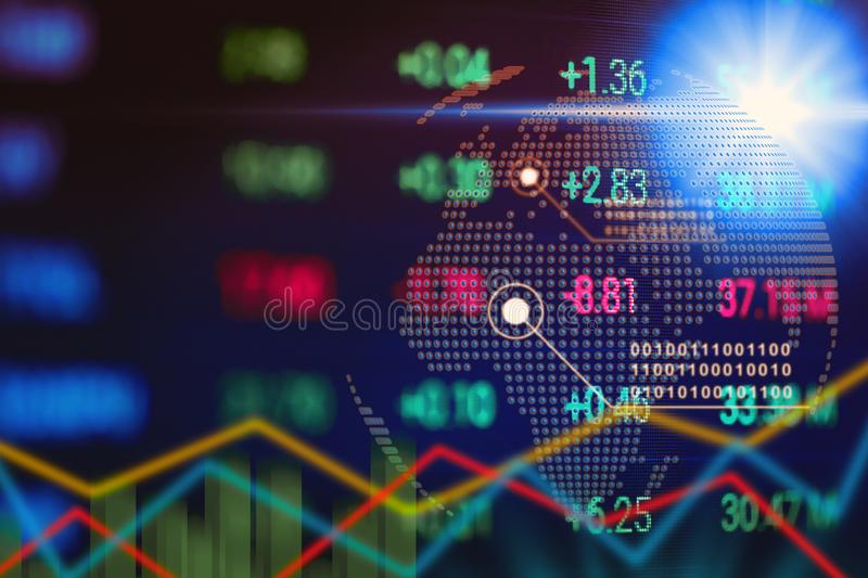 Financial stock marketing screen. Investment and Analysis information concept. Economic and Business theme royalty free stock image