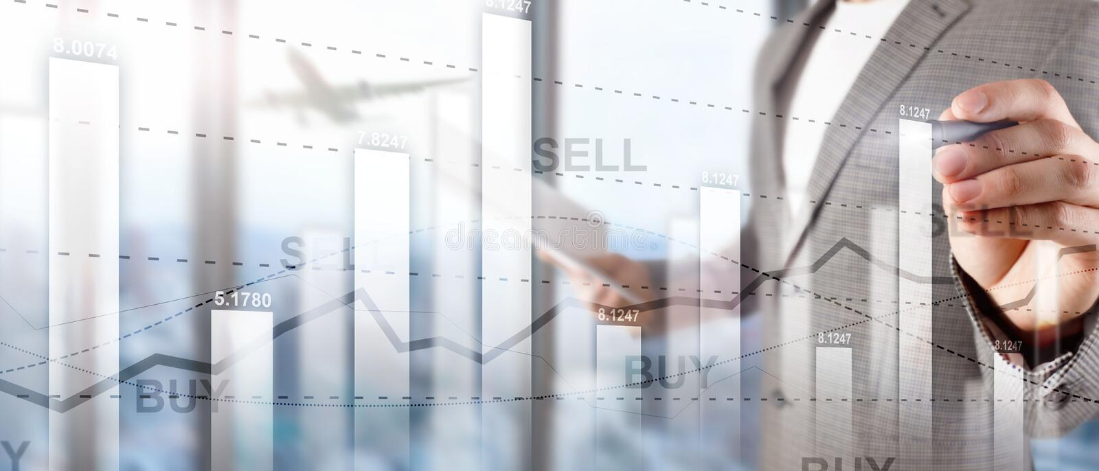 Financial stock trading graph chart diagram business finance concept double exposure mixed media. Financial stock trading graph chart diagram business finance royalty free stock photo