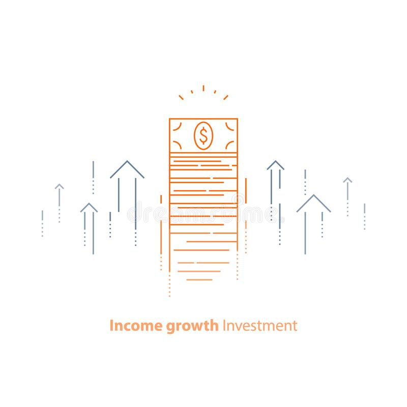 Financial strategy, income increase, return on investment, fund raising, long term increment, revenue growth, stock market. Income increase, financial strategy vector illustration