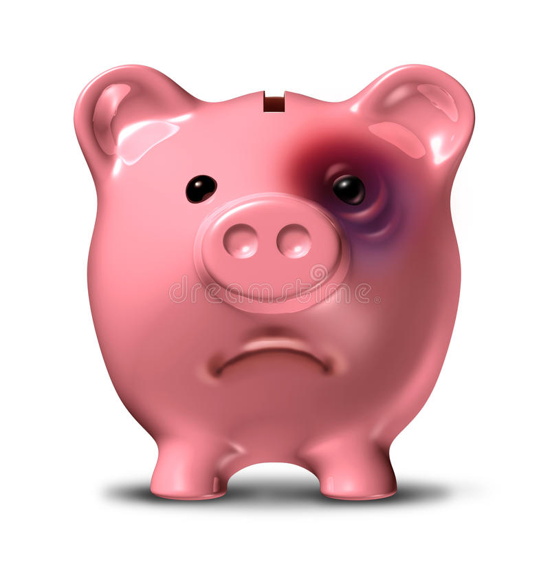Financial stress. And debt crisis as a bad investment business concept with a pink piggy bank with a painful black eye as an icon of broken home finances and stock illustration