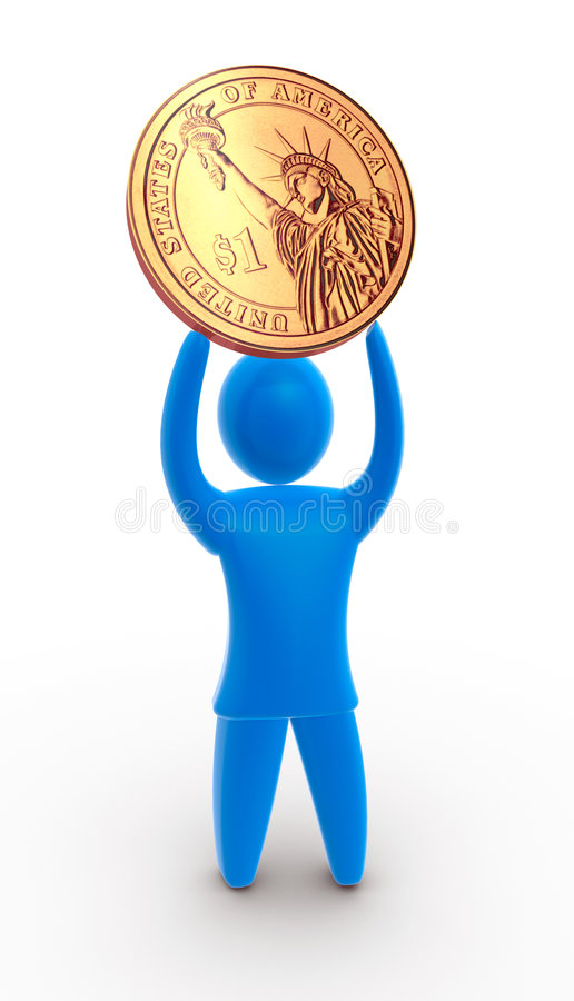 Financial succes. Men holds golden dollar coin above his head. Concept of exposing financial success and strong currency royalty free illustration