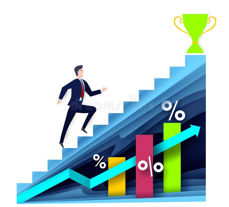 Financial success concept vector illustration in paper art style. Businessman walking up stairs to trophy cup, vector paper cut illustration. Financial success royalty free illustration