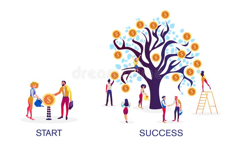 Financial success. Growth of economic finance indicators. Success in capital market investments, e-commerce. stock illustration