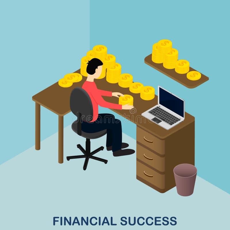 Financial success. Isometric gold. US dollars. stock illustration