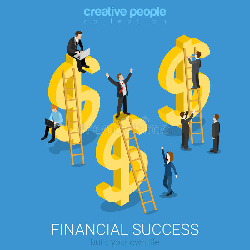 Financial success US dollar signs flat vector isometric 3d stock illustration